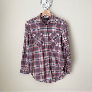J Crew gray and red plaid / flannel button down